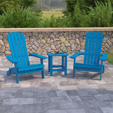2 Pack Charlestown All-Weather Poly Resin Folding Adirondack Chairs with Side Table in Blue