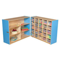 Half & Half Blue Storage Shelf Unit with Rolling Casters and Twenty Five Clear Cubby Trays - 96