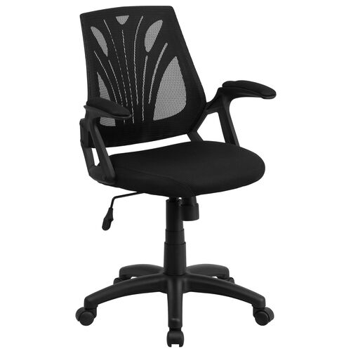 Our Mid-Back Designer Black Mesh Swivel Task Office Chair with Open Arms is on sale now.