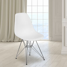 Elon Series White Plastic Chair with Chrome Base