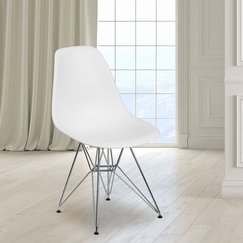 Our Elon Series White Plastic Chair with Chrome Base is on sale now.