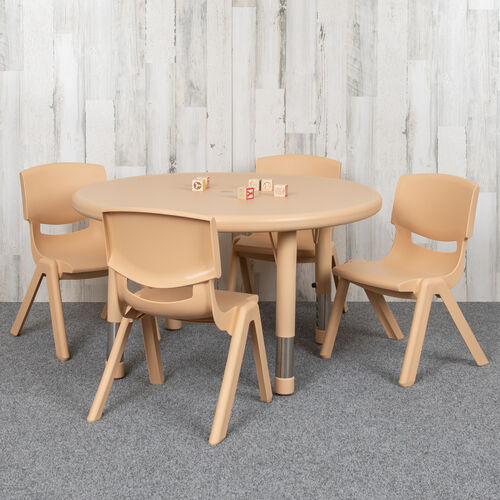 """33"""" Round Natural Plastic Height Adjustable Activity Table Set with 4 Chairs"""