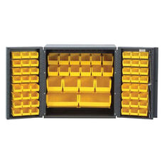 Mini All-Welded Storage Cabinet with 66 Bins - Yellow