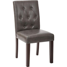 OSP Designs 7 Button Dining Chair - Pewter Deluxe Bonded Leather
