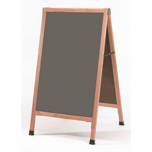 Our A-Frame Sidewalk Slate Porcelain Chalkboard with Solid Red Oak Frame - 42