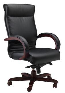 Corsica Black Leather Task Chair - Mahogany on Walnut Veneer