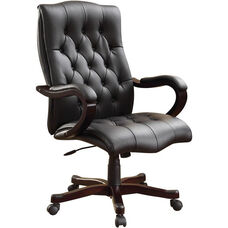 Inspired By Bassett Dixon Eco Leather Executive Chair with Wood Base and Accents - Black