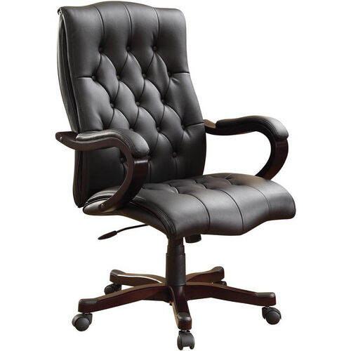 Our Inspired By Bassett Dixon Eco Leather Executive Chair with Wood Base and Accents - Black is on sale now.