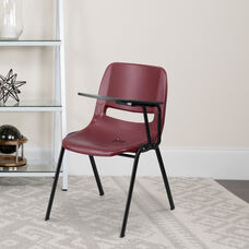 Burgundy Ergonomic Shell Chair with Left Handed Flip-Up Tablet Arm