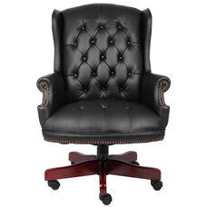 Traditional Button Tufted Wing Back Executive Chair - Black Caressoft™