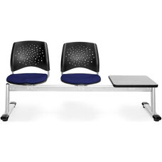 Stars 3-Beam Seating with 2 Navy Fabric Seats and 1 Table - Gray Nebula Finish