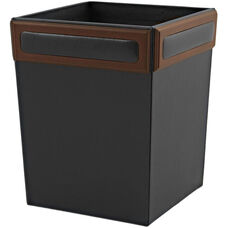 Wood and Leather Waste Basket - Walnut and Black
