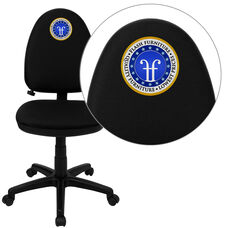 Embroidered Mid-Back Black Fabric Multifunction Swivel Ergonomic Task Office Chair with Adjustable Lumbar Support