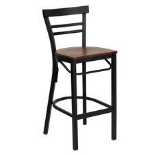 HERCULES Series Black Two-Slat Ladder Back Metal Restaurant Barstool - Cherry Wood Seat