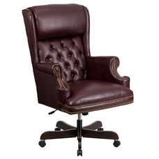 High Back Traditional Tufted Burgundy Leather Executive Ergonomic Office Chair with Oversized Headrest & Arms