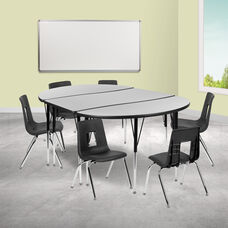 "76"" Oval Wave Collaborative Laminate Activity Table Set with 16"" Student Stack Chairs, Grey/Black"