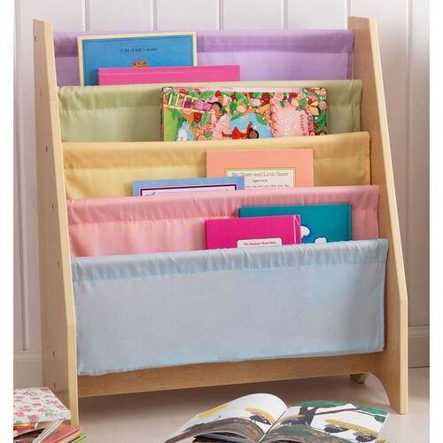 Our Kids Book Display Bookshelf with Four Canvas Sling Shelves- Pastel is on sale now.