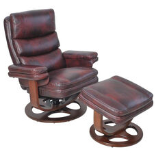 Bella Leather Match Pedestal Recliner with Ottoman - Plymouth Mahogany