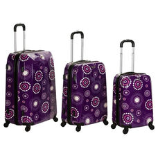Rockland 3 Pc. Vision Polycarbonate Abs Luggage Set - Purple Pearl