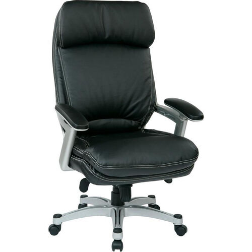 Our Work Smart Executive Eco Leather Chair with Padded Arms and Silver Finish Coated Base - Black is on sale now.