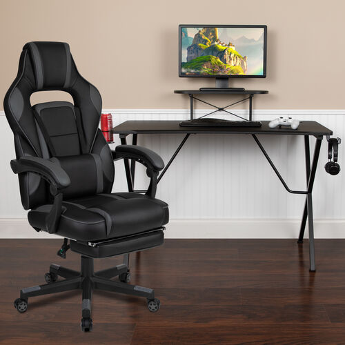 BlackArc Gaming Desk with Cup Holder/Headphone Hook/Monitor Stand & Reclining Back/Arms Gaming Chair with Footrest