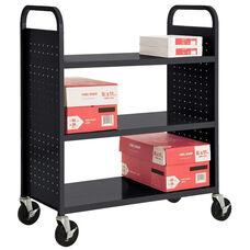 39''W x 19''D x 46''H Flat Three Shelf Booktruck