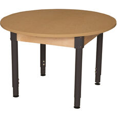 Round High Pressure Laminate Table with Adjustable Steel Legs - 48