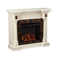Carrington Earth Tone Faux Slate Tile and Wood Grain Corner Convertible TV Console with Electric Fireplace - Ivory