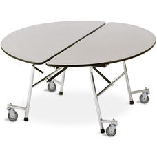 ADA Compliant Fold-N-Roll Round Laminate Cafeteria Table with Casters - 60