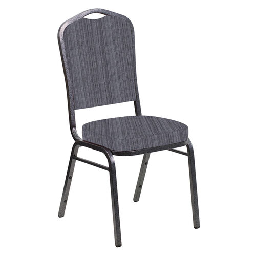 Our Embroidered Crown Back Banquet Chair in Sammie Joe Pewter Fabric - Silver Vein Frame is on sale now.