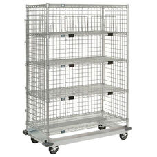 Heavy Duty Chrome - 5 Wire Shelves Exchange & Linen Transport Truck - 24