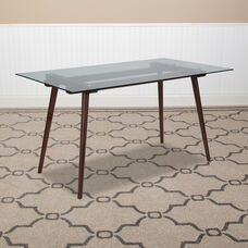 """Meriden 31.5"""" x 55"""" Rectangular Solid Walnut Wood Table with Clear Glass Top"""