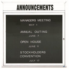 1 Door Outdoor Illuminated Enclosed Directory Board with Header and White Anodized Aluminum Frame - 36