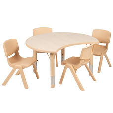 "25.125""W x 35.5""L Crescent Natural Plastic Height Adjustable Activity Table Set with 4 Chairs"
