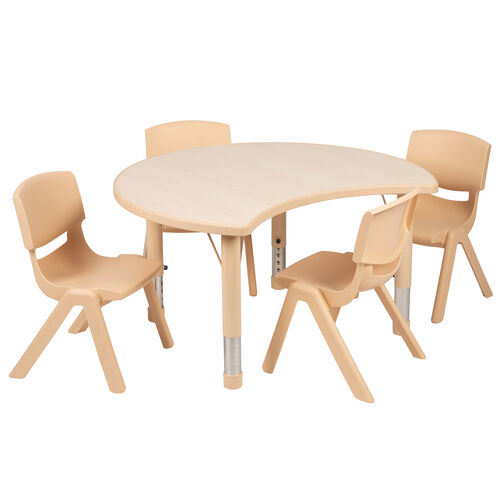 """Our 25.125""""W x 35.5""""L Crescent Natural Plastic Height Adjustable Activity Table Set with 4 Chairs is on sale now."""