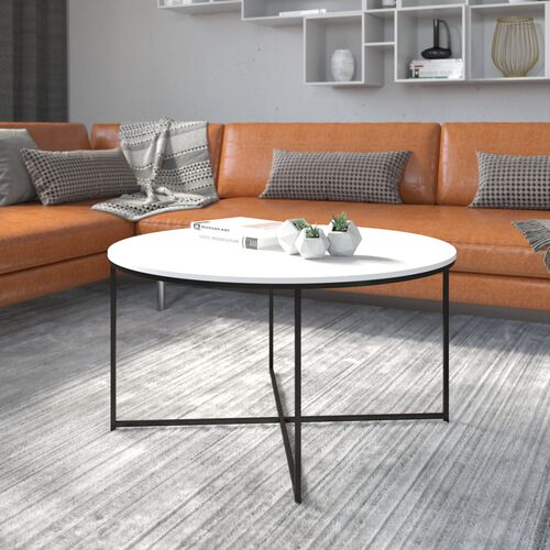 Hampstead Collection Coffee Table - Modern White Finish Accent Table with Crisscross Matte Black Frame