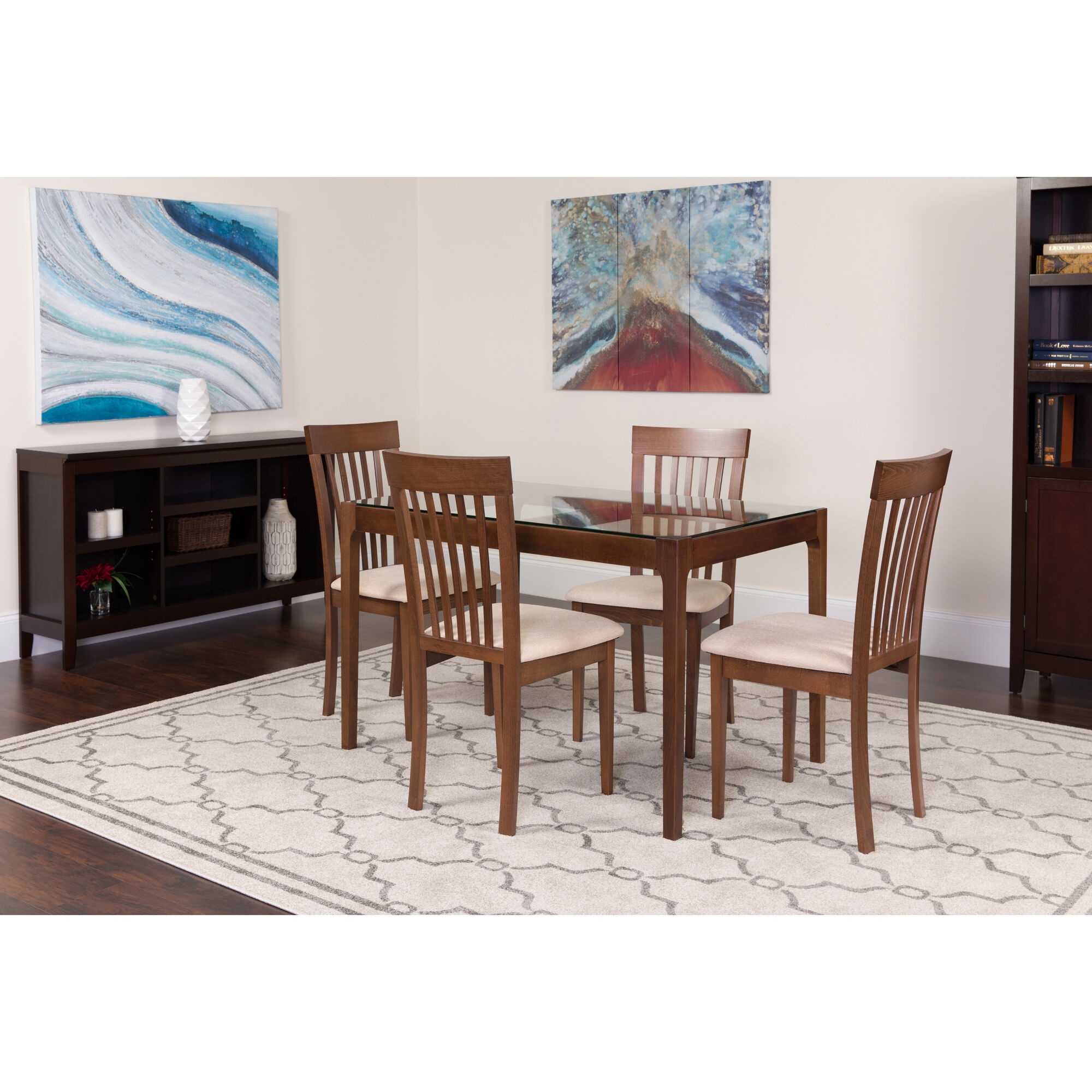 Images our clayton 5 piece walnut wood dining table