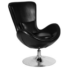 Egg Series Black LeatherSoft Side Reception Chair