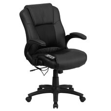 Ergonomic Massaging Black Leather Executive Swivel Office Chair with Arms
