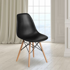 Elon Series Black Plastic Chair with Wooden Legs