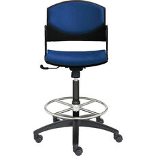 Eddy Medium Height Swivel Stool with Upholstered Back and Seat Pads