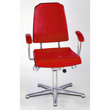 Aklaim Flagship Series Red Task Chair with Ergonomic Upholstery and Star Base with Glides - Low Profile with Armrests