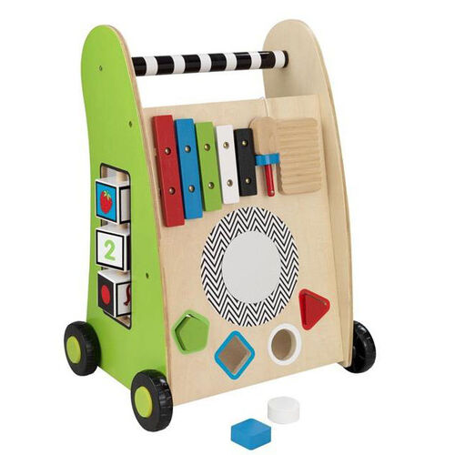 Our Early Childhood Development Wooden Push Along Play Cart with Xylophone and Shape Sorter is on sale now.