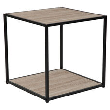 Midtown Collection Sonoma Oak Wood Grain Finish End Table with Black Metal Frame