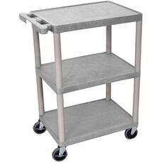 3 Shelf Structural Foam Plastic Utility Cart - Gray - 24