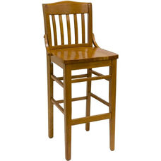 Vertical Slat Back Solid Wood Barstool - Cherry Finish