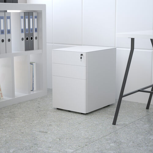 Modern 3-Drawer Mobile Locking Filing Cabinet with Anti-Tilt Mechanism and Hanging Drawer for Legal & Letter Files