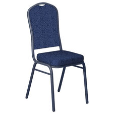 Faith Blue Fabric Upholstered Crown Back Banquet Chair - Silver Vein Frame