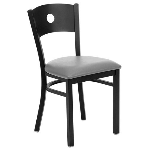 Our Black Circle Back Metal Restaurant Chair with Custom Upholstered Seat is on sale now.