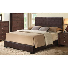 Ireland III Faux Leather Panel Bed - Queen - Brown